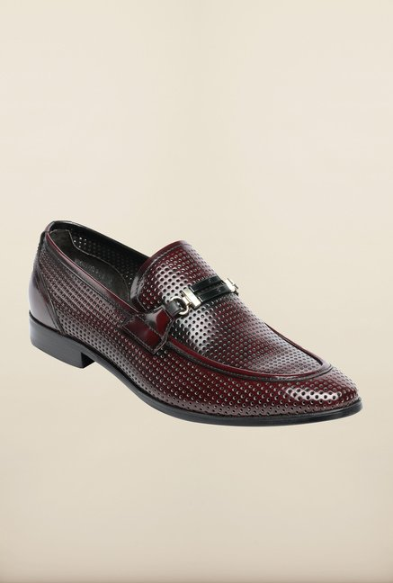 Pavers England Burgundy Slip-On Shoes