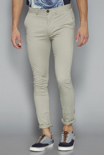 Nuon Beige Solid Skinny Fit Chinos
