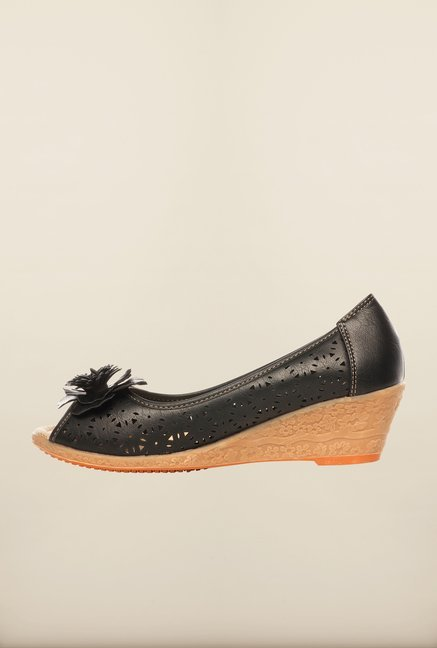 Pavers England Black Wedge Shoes
