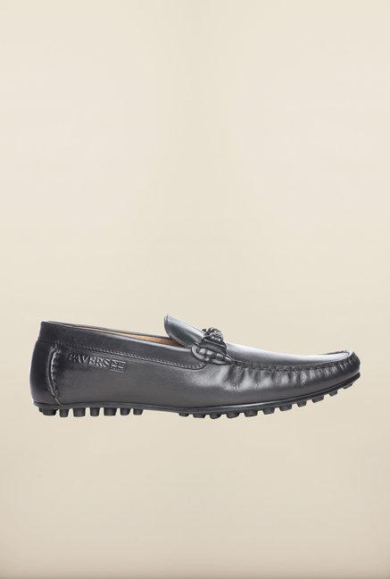Pavers England Black Leather Loafers