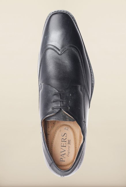 Pavers England Black Leather Derby Shoes