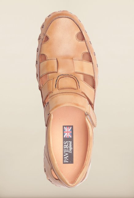 Pavers England Tan Leather Fisherman Sandals