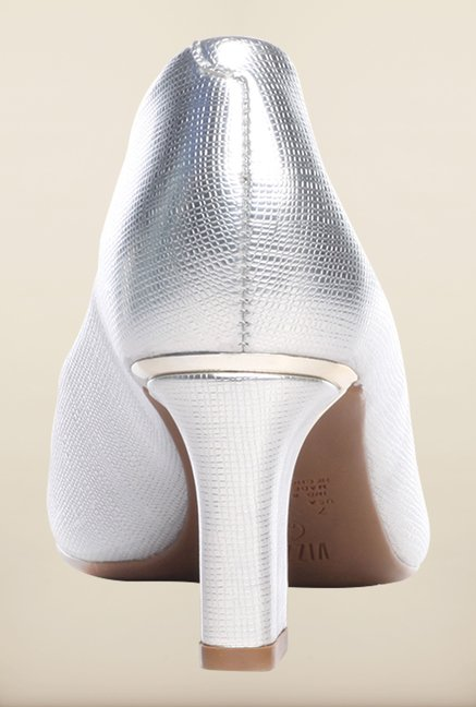 Pavers England Silver Peep Toe Shoes