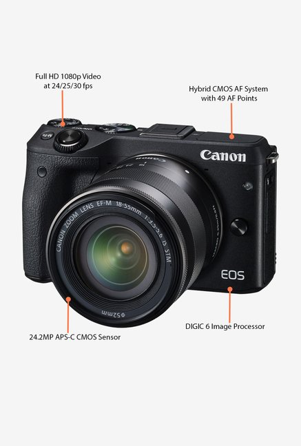 Canon EOS M3 with (EF-M18-55 IS STM Lens) Mirrorless Camera