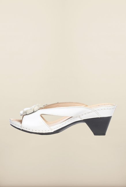 Pavers England White Slide Sandals