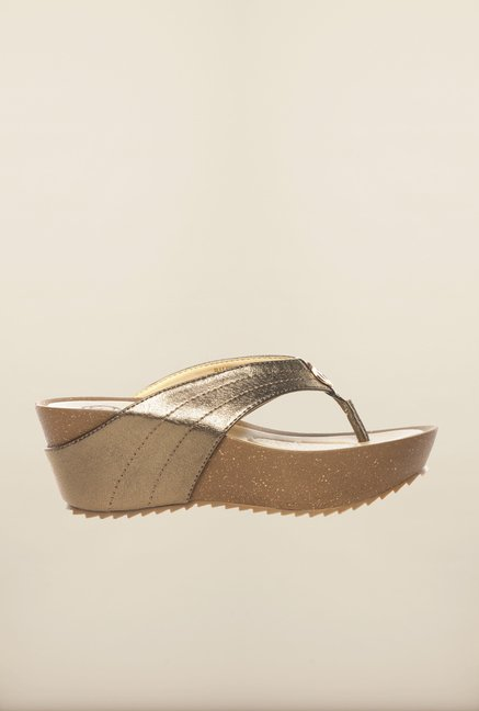 Pavers England Gold Thong Wedges