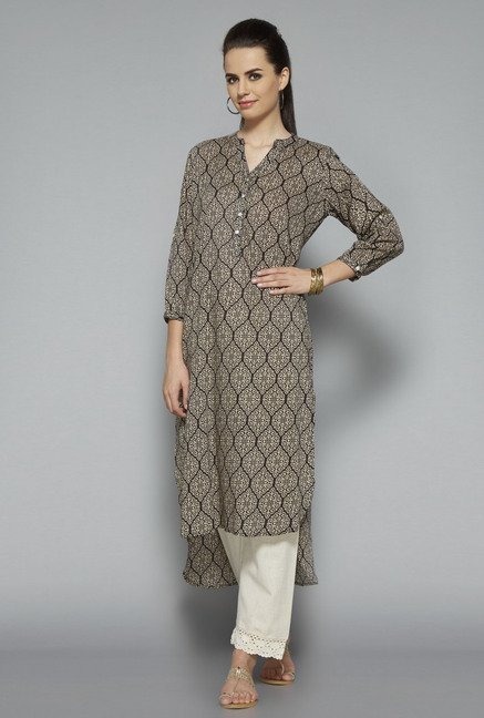 Utsa Black 3/4th Sleeve Kurta