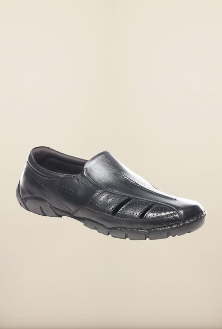 Pavers England Black Leather Slip-Ons