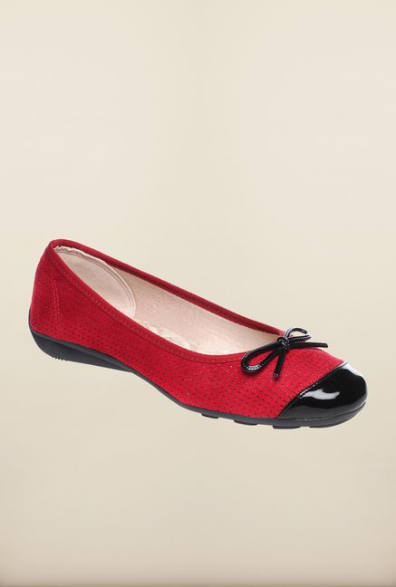 Pavers England Red Flat Ballerinas