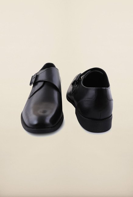 Arrow Black Leather Monk Formal Shoes