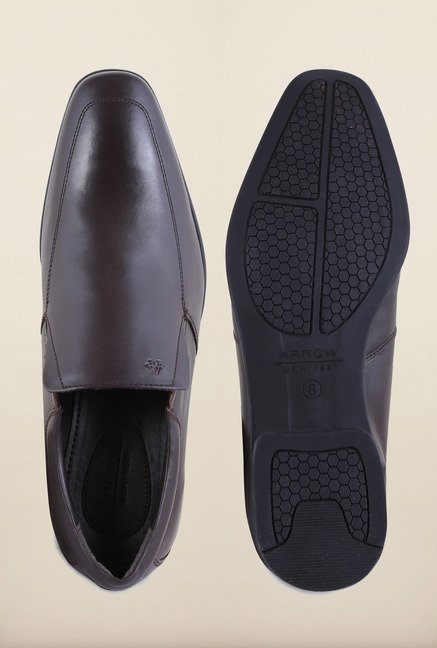 Arrow Black Leather Brogue Formal Shoes