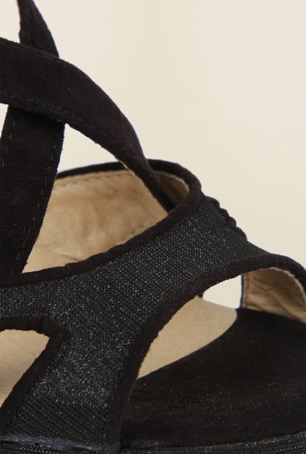 Cobblerz Black Wedge Sandals
