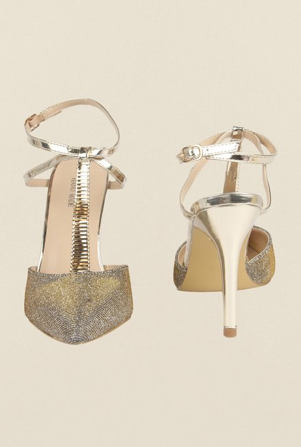Cobblerz Gold Stiletto Sandals