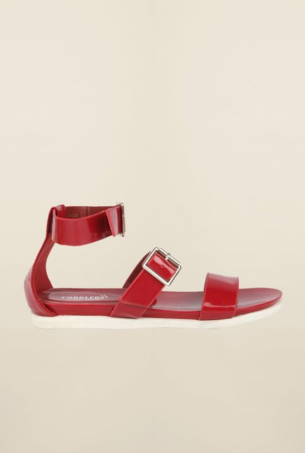 Cobblerz Red Flat Sandals