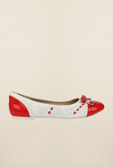 Cobblerz Red & White Ballerina Shoes