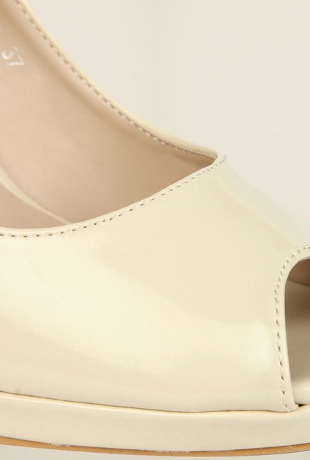 Cobblerz Beige Peep Toe Shoes