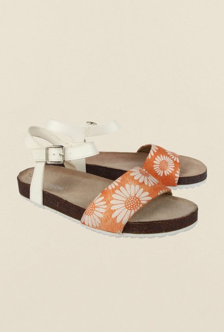 Cobblerz Orange Flat Sandals
