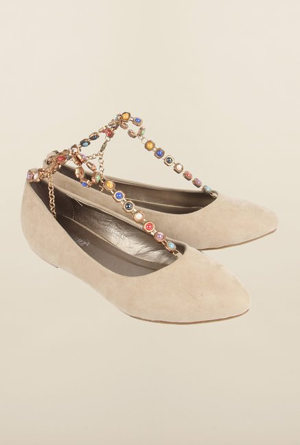 Cobblerz Beige Flat Shoes