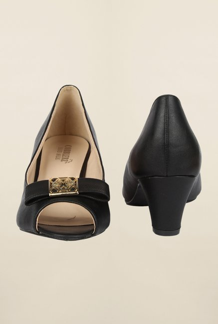 Cobblerz Black Peep Toe Shoes