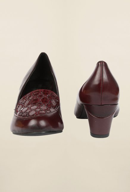 Cobblerz Maroon Block Heel Shoes
