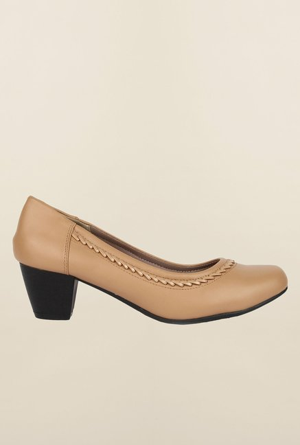 Cobblerz Beige Block Heel Shoes