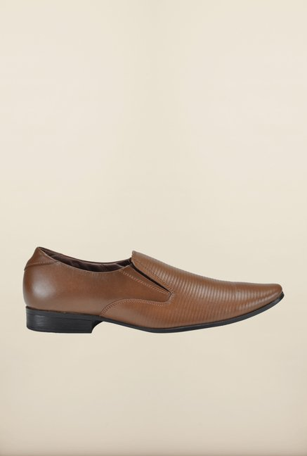 Franco Leone Tan Formal Slip-Ons Shoes