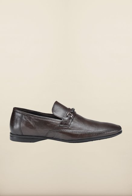 Franco Leone Brown Formal Slip-Ons Shoes