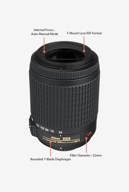 Nikon AF-S DX VR Zoom-Nikkor 55-200mm Lens (Black)