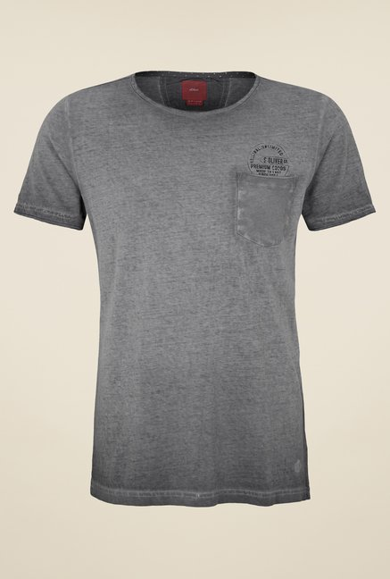 s.Oliver Grey Solid T Shirt