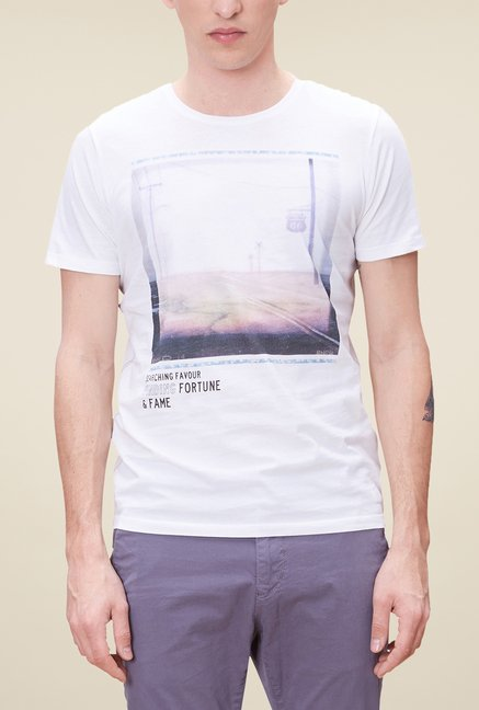 s.Oliver White Printed T Shirt