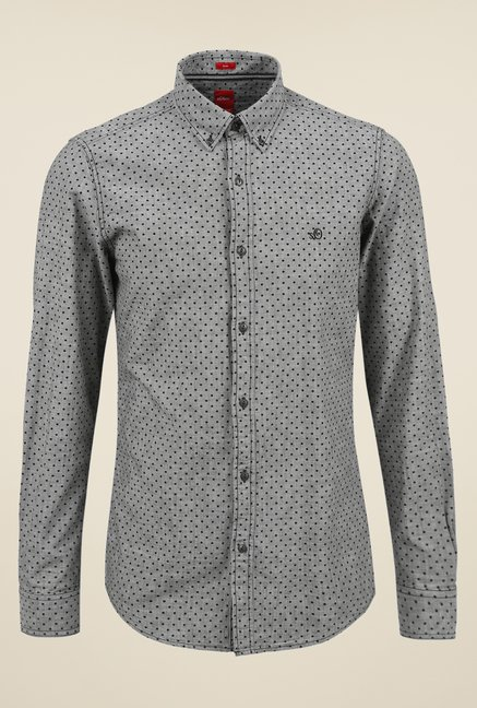 s.Oliver Grey Dotted Shirt
