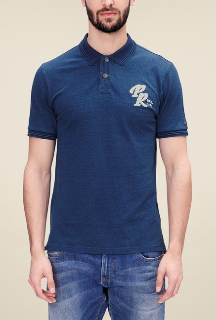 s.Oliver Blue Solid T Shirt
