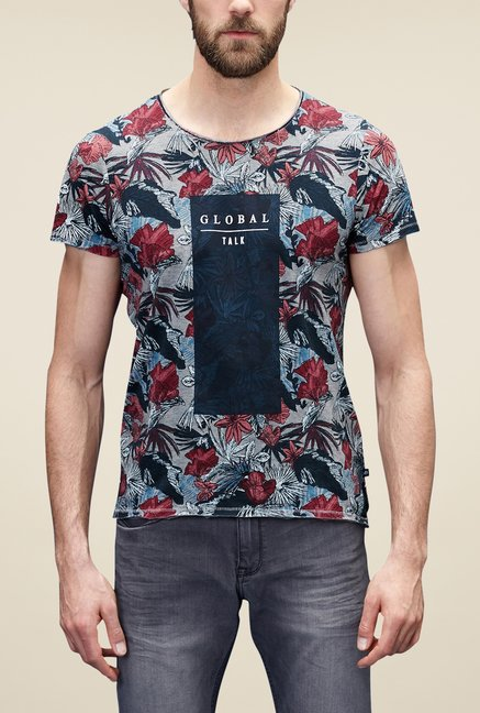 S Oliver Grey Printed T Shirt