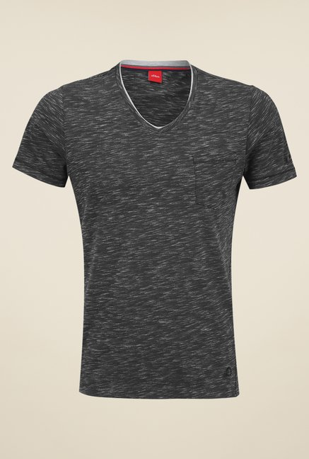 s.Oliver Black Solid T Shirt