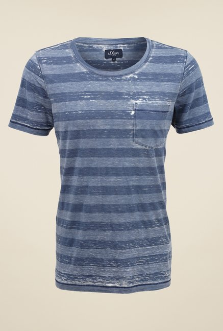 s.Oliver Blue Striped T Shirt