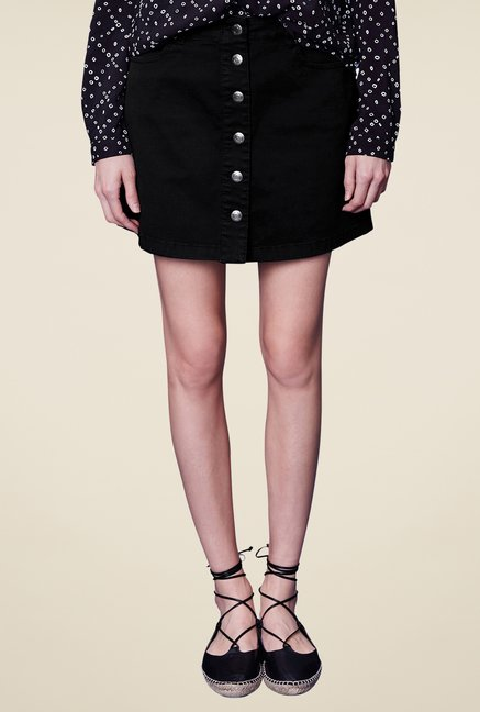 s.Oliver Black Solid Skirt