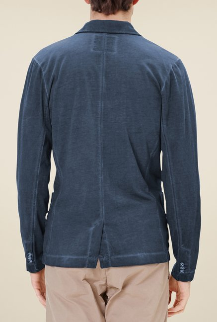 s.Oliver Navy Solid Sweatshirt Jacket