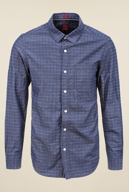 s.Oliver Dark Blue Checks Shirt