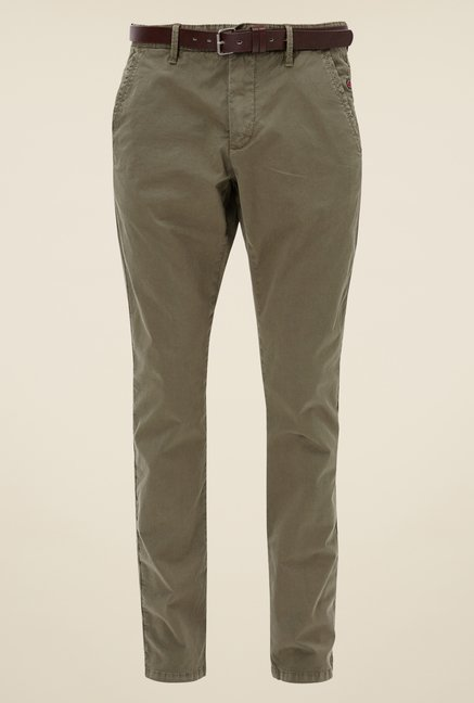 s.Oliver Olive Solid Chinos