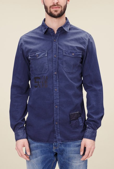 s.Oliver Denim Blue Solid Shirt
