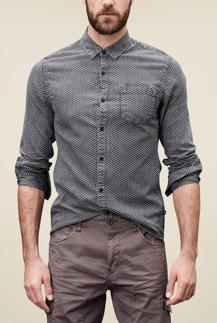 s.Oliver Grey Printed Shirt