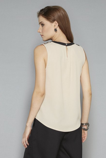 Wardrobe Beige Solid Blouse