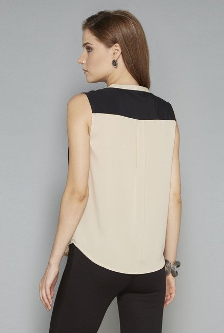 Wardrobe Beige Solid Regular Fit Blouse