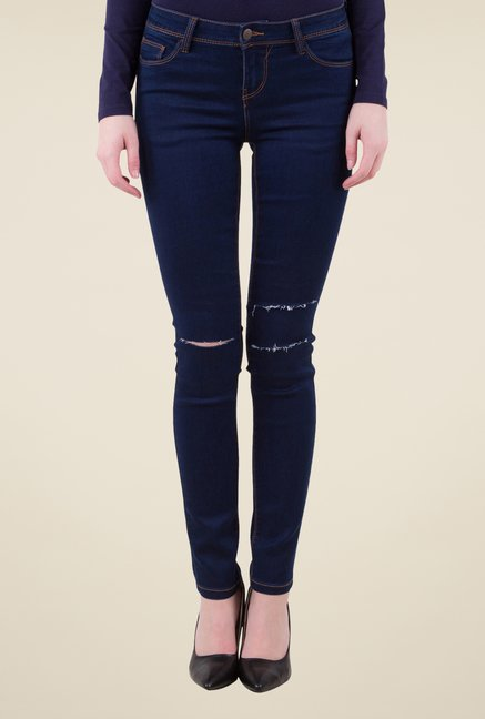 MIM Navy Ripped Skinny Fit Jeans