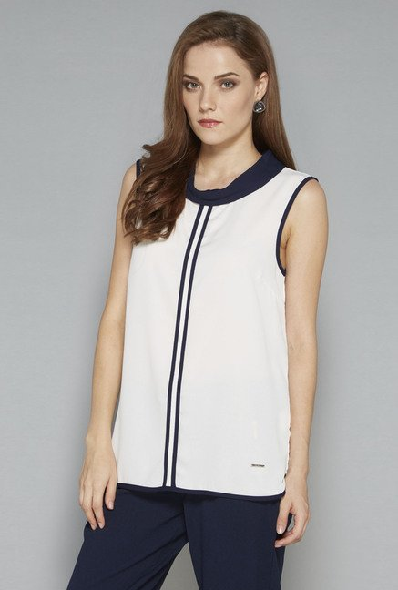 Wardrobe Off White Solid Regular Fit Blouse