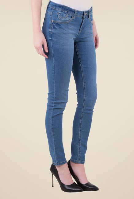 MIM Blue Lightly Washed Skinny Fit Jeans