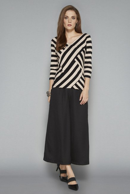 Wardrobe Black Striped Regular Fit Blouse