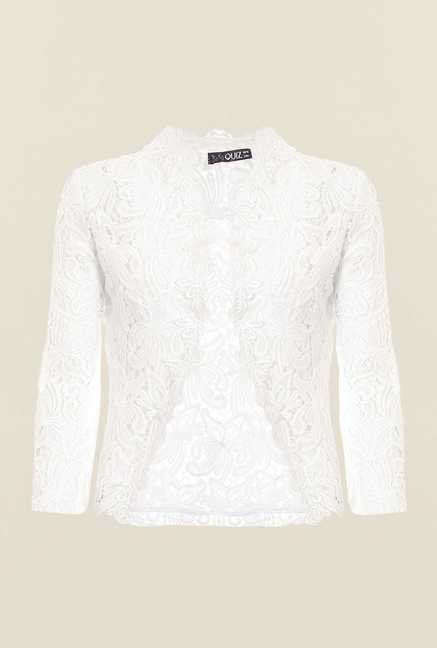 Quiz White Crochet Crop Jacket