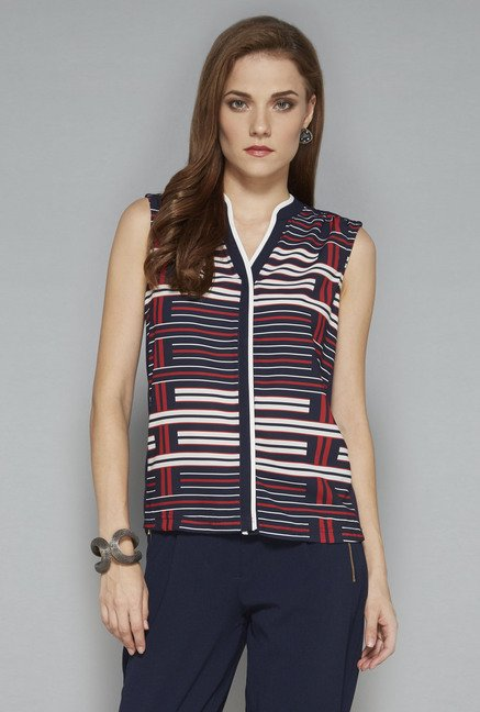 Wardrobe Navy Printed Blouse