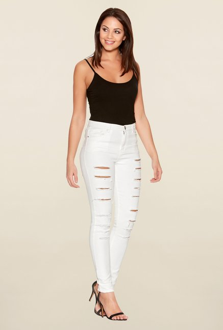 Quiz White Ripped Jeans